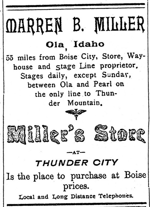 Warren B. Miller,Ola and Miller's Store at Thunder City